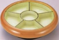 尺2寸S.D.X回転盛桶 花梨 仕切若草吹付【オードブルに】【回転皿】【回転盛皿】【パーティーに】【新年会に】【回転台】【回転盛込器】【正月に】【M-12-72】