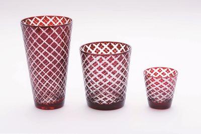 ■3コセット■切子ミニカップ(菱)(赤)■3コセット■