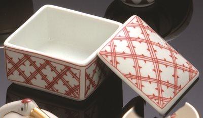 ■10コセット■赤格子角鉢珍味入(大)■10コセット■