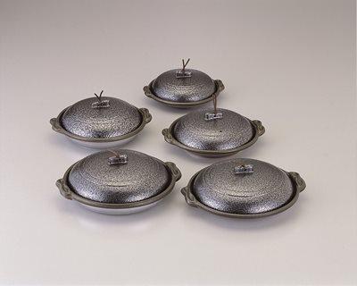 ■3コセット■丸陶板浅皿φ14cm(A)(いぶし銀)■3コセット■