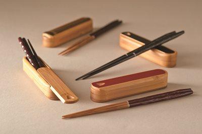 ■3コセット■竹製しぼり携帯箸(赤溜)■3コセット■