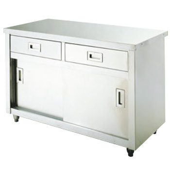 台下戸棚 引出付 UTC-124-2D バックガード有【代引き不可】【食器棚】【ステンレス戸棚】【収納】