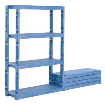 サンコー プラスチック棚-Lセット ブルー(棚板4枚・脚12本)【代引き不可】【棚】