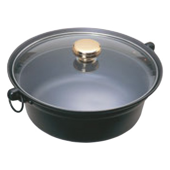 新作販売 セットアップ EBM-19-1542-12-001 アルミ合金しゃぶ鍋 ガラス蓋付