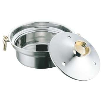 EBM 電磁用 しゃぶしゃぶ鍋 穴明 25cm【IH対応】【8層鋼】