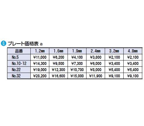 プレート価格表 No.5 1.2mm
