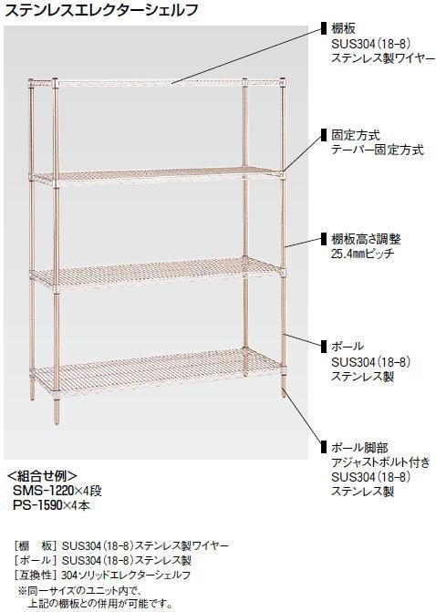 ステンレス エレクター シェルフ SSS シリーズセット (奥行310mm) SSS1820・PS1900 6段【代引き不可】
