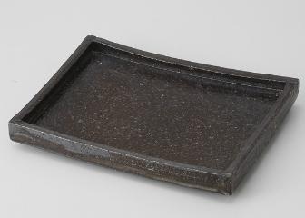 黒伊賀 変型長角皿