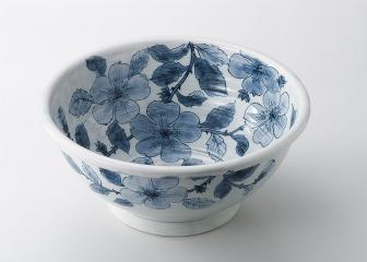 染古花 尺一手洗い鉢【代引き不可】