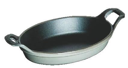 ストウブ 小判グラタンプレート 21cm グレー 1302118【鉄鋳物】【グラタン皿】【業務用】