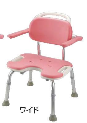 やわらかシャワーチェア ピンク U型肘掛付ワイド【お風呂椅子】【温泉椅子】【いす】【イス】【業務用】