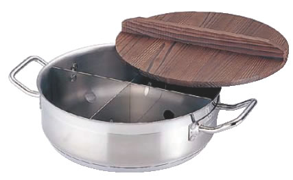 21-0 TKGプロ 電磁用丸型おでん鍋 (木蓋付) 小【業務用】