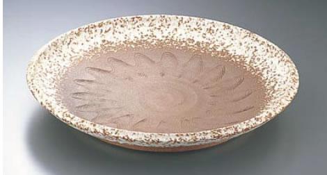 手造赤土白吹12.0大皿 平 B03-20【バイキング ビュッフェ】【バンケットウェア】【盛器 大皿】【業務用】