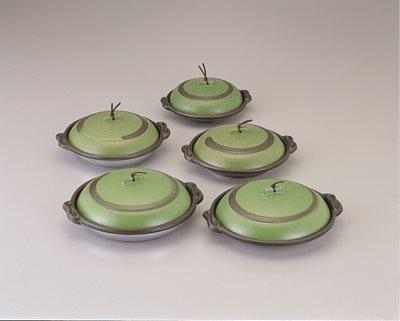 ■3コセット■丸陶板浅皿φ14cm(A)(うぐいす)■3コセット■