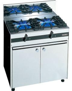 【送料無料】新品!オザキ ガステーブル(2口)(キャビネット付) W800*D550*H800(mm) OZ80-55DSP [厨房一番]