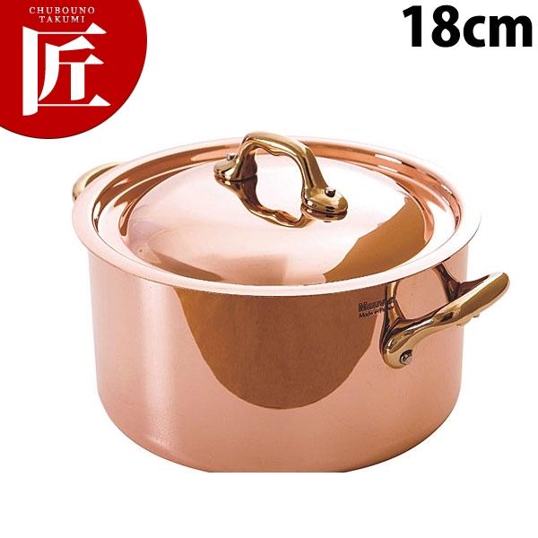 純銅製 半寸胴鍋 18cm蓋付【N】