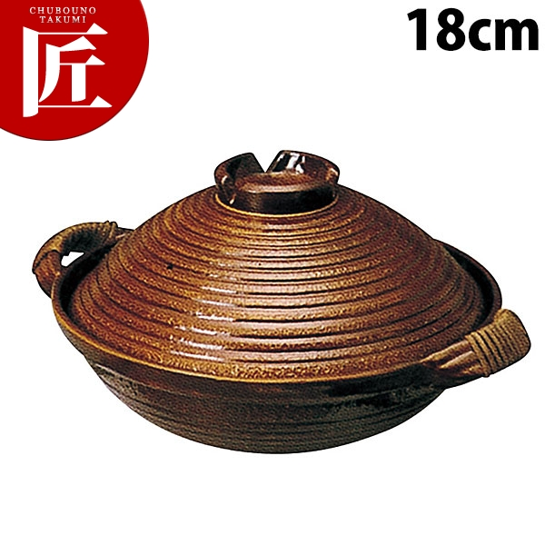 電磁用 手造り楽鍋(赤アメ釉)アケビ巻 18cm【運賃別途】【N】