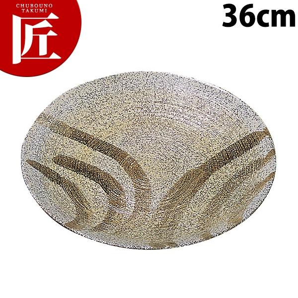 千筋丸皿 刷毛粉引 36cm【運賃別途】[N]