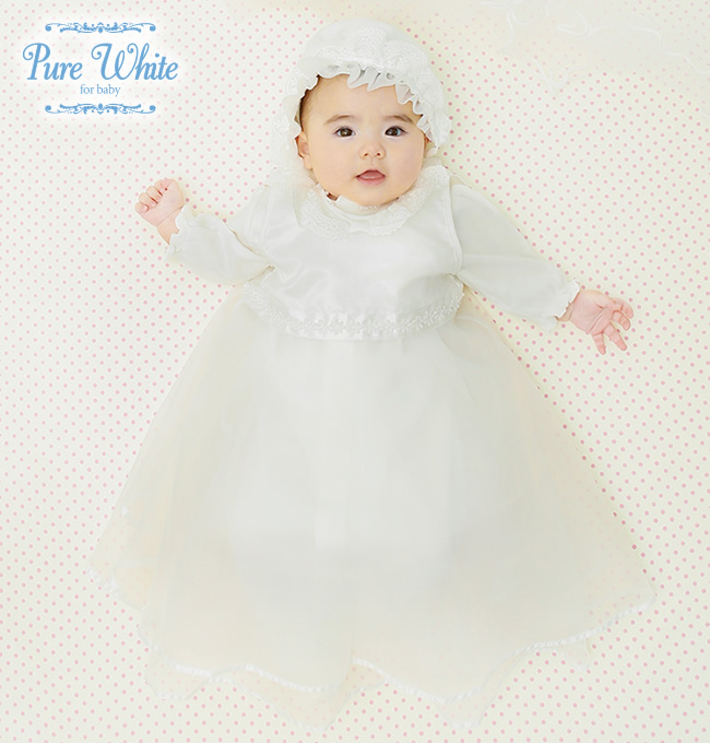 f35ad2c6b8cfd ピュアホワイト新生児ベビー服セレモニードレス女の子男の子ツーウェイオールカバーオール帽子ドレス3点セット