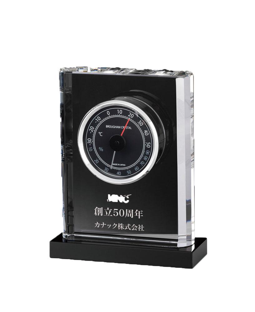 オーダー品[L320-4] クリスタル温湿度計 13.7cm×11cm