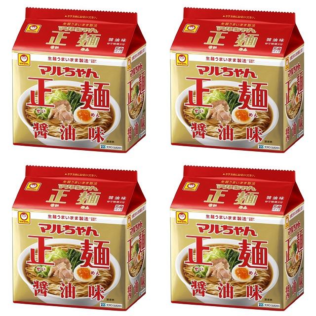 5食パック×4袋 18%OFF 東洋水産 4901990513043 マルちゃん正麺醤油味5食パック 正規品送料無料