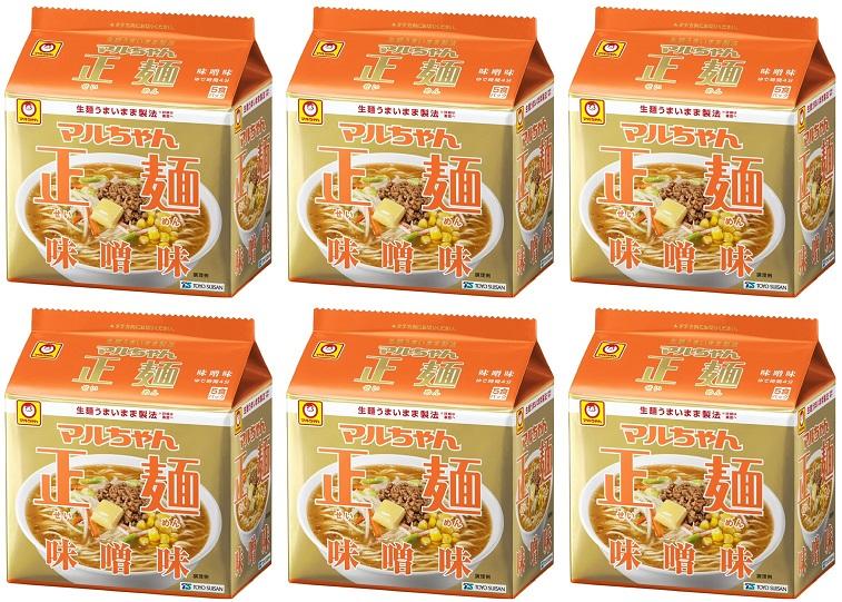 5食パック×6袋 東洋水産 [再販ご予約限定送料無料] マルちゃん正麺味噌味5食パック 4901990513081 安心と信頼