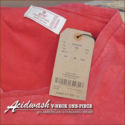 Gerard en * acid wash process ★ V neck short sleeve one piece!