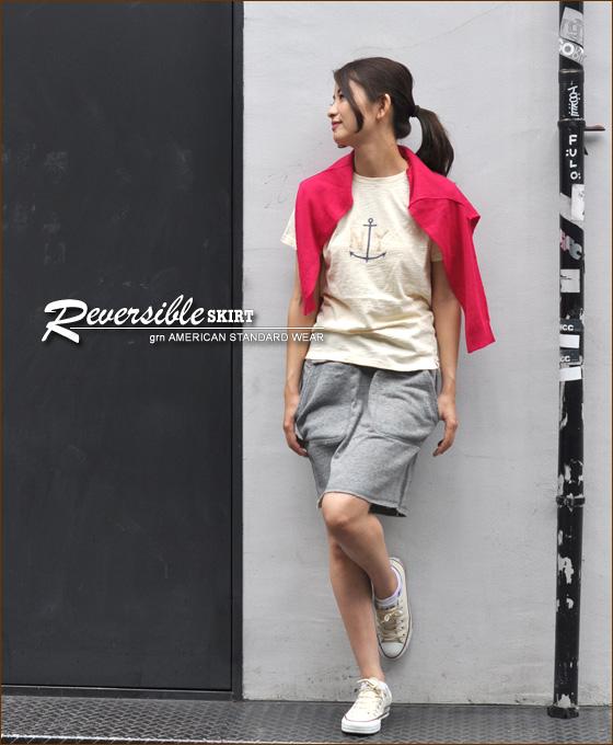 ジーアールエヌ * リーフカモ * much ★ back hair reversible skirt