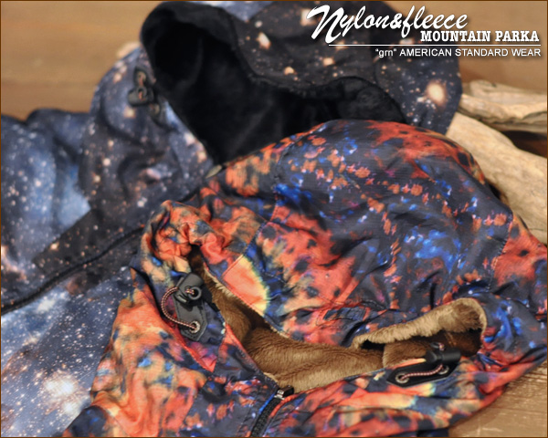 Nylon / fleece transfer print lining brushed mountain parka