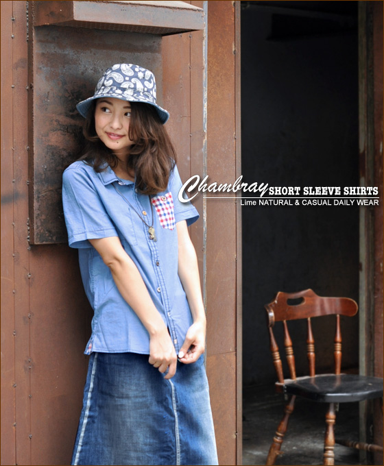 Ikinari Markdown SALE! Now only 35% off!-button short sleeve chambray shirt ♪ [shipping]