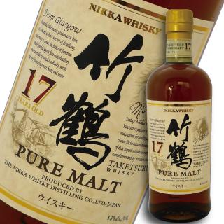 アサヒ ニッカ ウイスキー竹鶴 17年 ピュアモルト 700ml (箱なし)