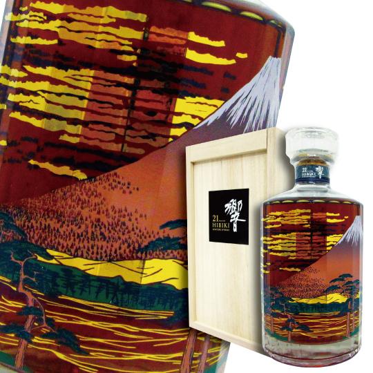 산토리 위스키히비키 21년 생각 보틀≪후지 풍운도≫2015 43도 700 ml (전용 나무 상자 포장)