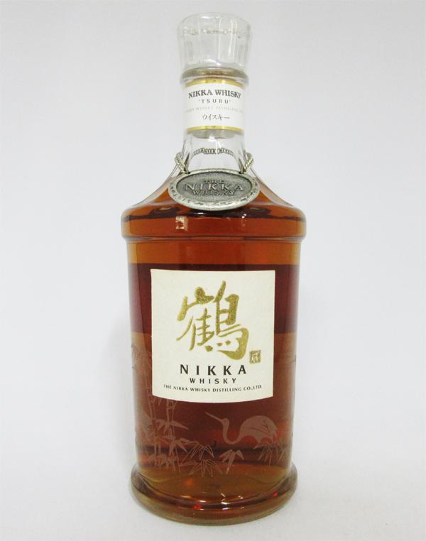【レトロ:スリムボトル】ニッカウヰスキー 鶴 透明瓶 43度 700ml (箱なし)