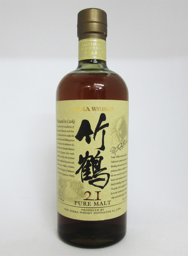 【旧ボトル】アサヒ ニッカ ウイスキー 竹鶴 21年 ピュアモルト 700ml (箱なし)
