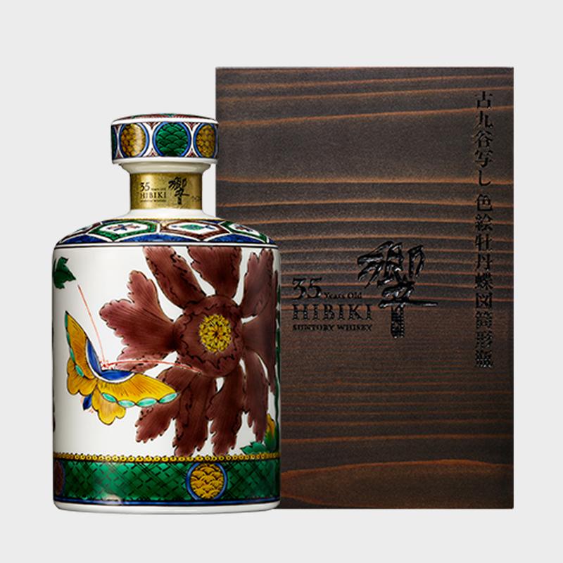 산토리 위스키히비키 35년고쿠타니 사본 채색화 모란접도통형병」47도 700 ml (호화동규중)