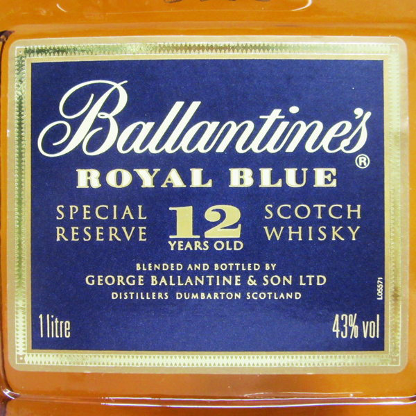 1,000 ml of Ballantine royal blue (ROYAL BLUE) 12 years 43 degrees regular article (there is no box)