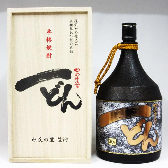 【擦り瓶】かめ仕込み 一どん ゴールドラベル 30度 1800ml (専用木箱入り)