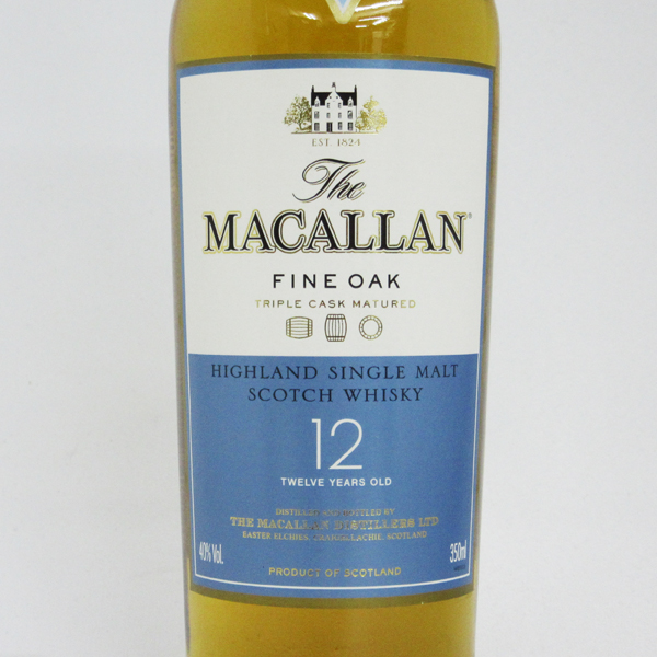 350 ml of oak 40 degrees (there is no box) fine for McCarran 12 years