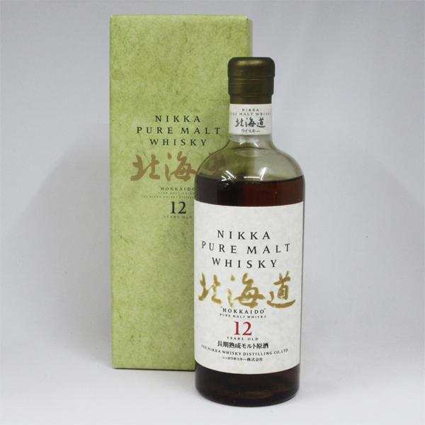 【レトロ:金文字】ニッカピュアモルトウイスキー 北海道 12年 長期熟成モルト原酒 43度 750ml (専用化粧箱入り)