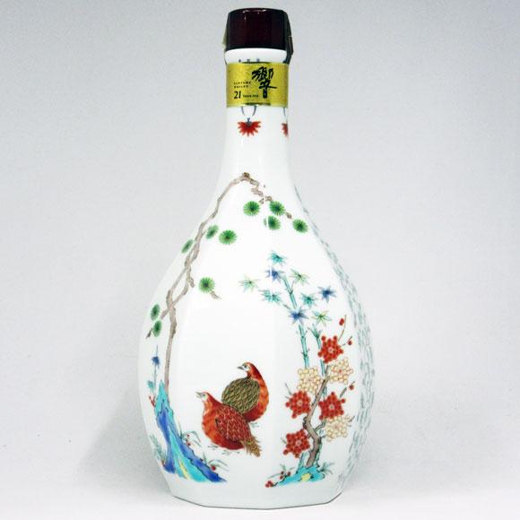【レトロ】サントリーウイスキー 響 21年 スペシャルボトルコレクション 2001 有田焼<色絵松鶴梅鶉文八角瓶> 43度 600ml (箱なし)