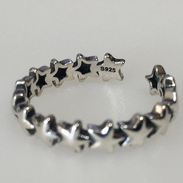 即納 S925シルバーリング 限定モデル リング 指輪 レディース S925 可愛い 銀製 スターリングシルバー 星 スター 1連