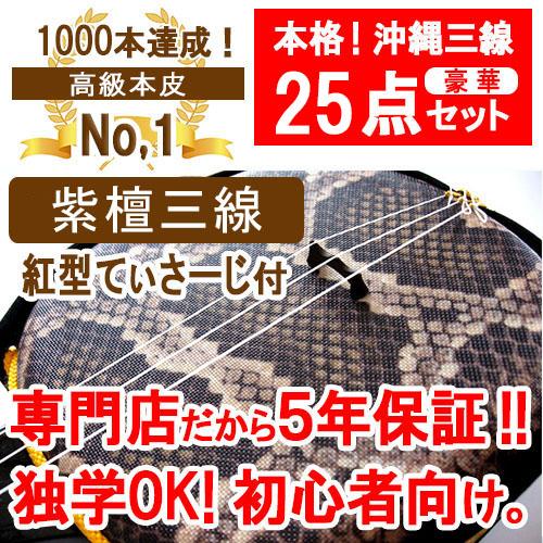 三線 本皮 紫檀棹SVセット 【沖縄】