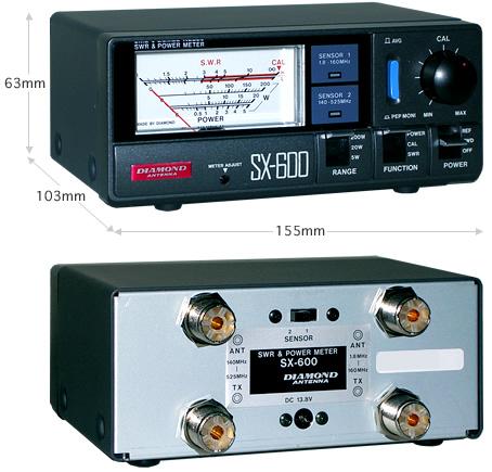 【ラッキーシール対応】 SX-600 ダイヤモンド 通過型SWR・パワー計 【1.8~525MHz・2センサー内蔵】