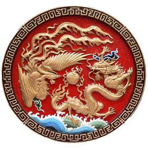 FRP龍と鳳凰の壁飾り
