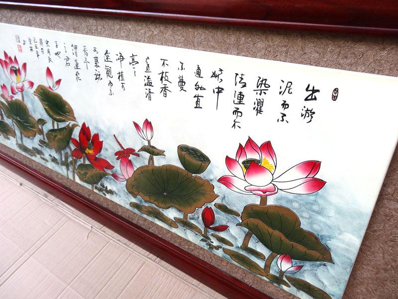 蓮の花のレリーフ 230×80cm