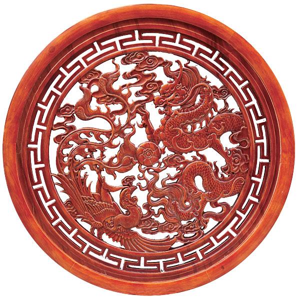 木彫円盤 龍と鳳凰 φ80cm