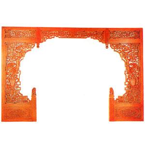 中国式木彫ゲート W366cm