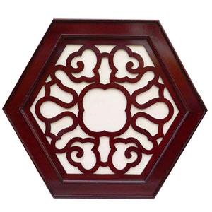 木製六角壁飾り 鏡