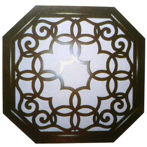 木製八角壁飾り 鏡