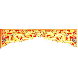 木彫透かし欄間 双龍